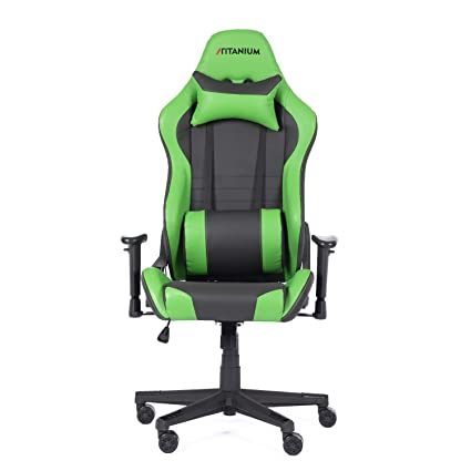 Outstanding Boulies Leather Gaming Racing Desk Chair Adjustable Computer Chair Lumbar And Head Pillow Chair Titanium Series Green Andrewgaddart Wooden Chair Designs For Living Room Andrewgaddartcom