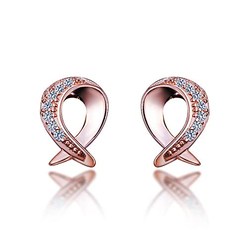 7e0808798ec4e Amazon.com: Cute Rose Gold Plated Fish Zircon Stud Earrings Wedding ...