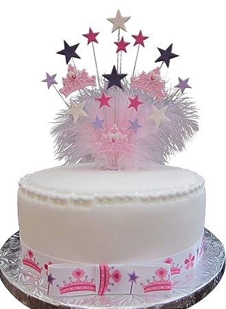 Geburtstag Kuchen Aufsatz In Prinzessin Kronenform Mit Marabu Federn