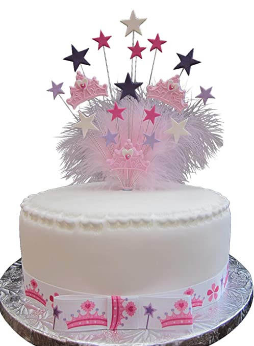 Karens Cake Toppers Princesa Corona decoración para Tarta para cumpleaños con Plumas de marabú Ideal para A 20 cm para Tartas Plus 1 x M 25 mm ...