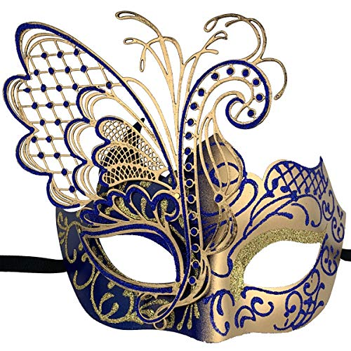 Xvevina Masquerade Mask for Women Shiny Glitter Venetian Pretty Party Evening Prom Mask (Butterfly Gold&Blue)