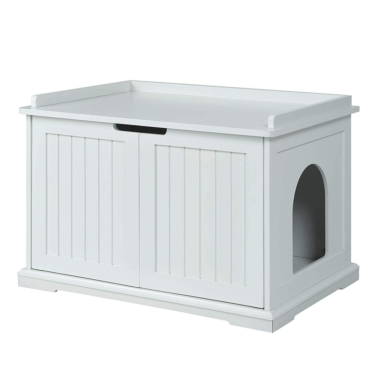 unipaws Designer Cat Washroom Storage Bench, Litter Box Cover, Sturdy Wooden Structure, Spacious Storage, Easy Assembly, Fit Most of Litter Box, White by unipaws