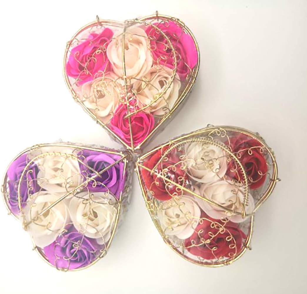 Shuny Flor Artificial, Inmortal de Rose, Flor de Jabón En Caja de Arte de Hierro En Forma de Corazón Flor,para decoración de Interiores y Exteriores