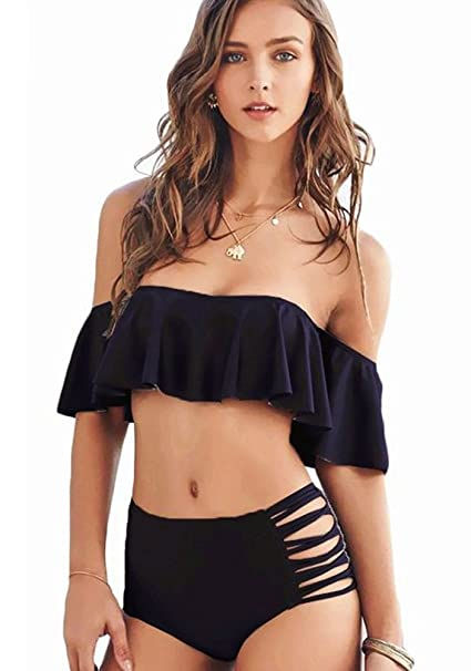 3117a98f75854 Off Shoulder Swimsuits Sexy Swimwear for Women High Waist Two Piece Bikini  Pushup Ruffle Fashion Cute