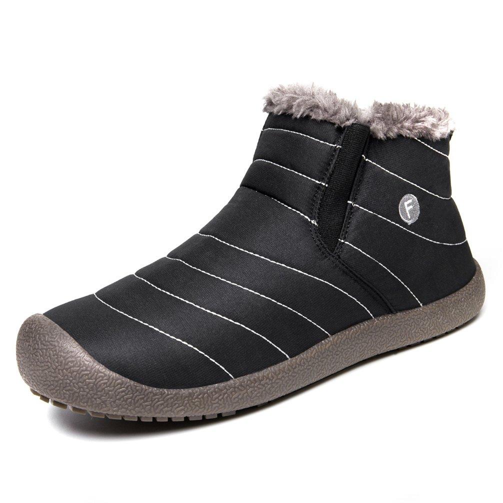 UBFEN Men Women Shoes Winter Warm Fully Fur Lined Snow Boots Ankle Waterproof Outdoor Slip on Casual B075YJ43TJ Men 11 D(M) US|Black