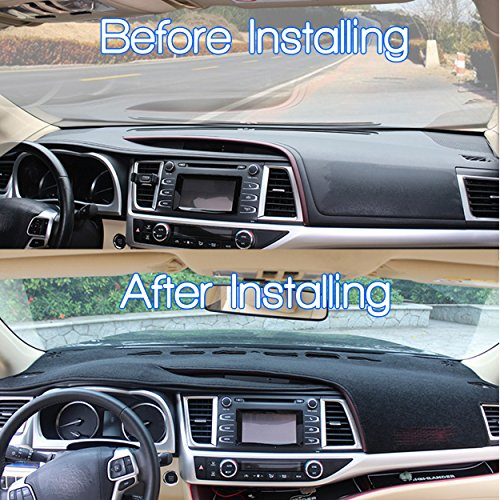 Naviurway 2nd Generation Anti-Slip Backing Customize Fit Dashboard Carpet Dash Cover Mat Compatible with Toyota Highlander 2014-2018 Black
