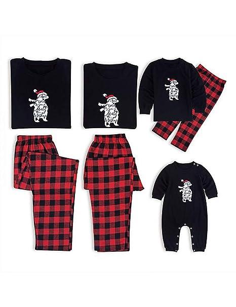 BESBOMIG Suave Algodón Navidad Conjunto de Pijamas Familiaridad Camisetas Personalizado - Camisetas de Manga Larga y Pantalones Mamá Papá Niño: Amazon.es: ...