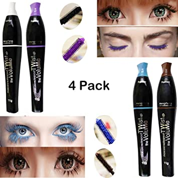 e1d551ac16a Amazon.com : Waterproof Color Mascara, Blue Purple Black Green Brown  Perversion Mascara, Charming Longlasting Mascara for Eyelash Eye Makeup :  Beauty