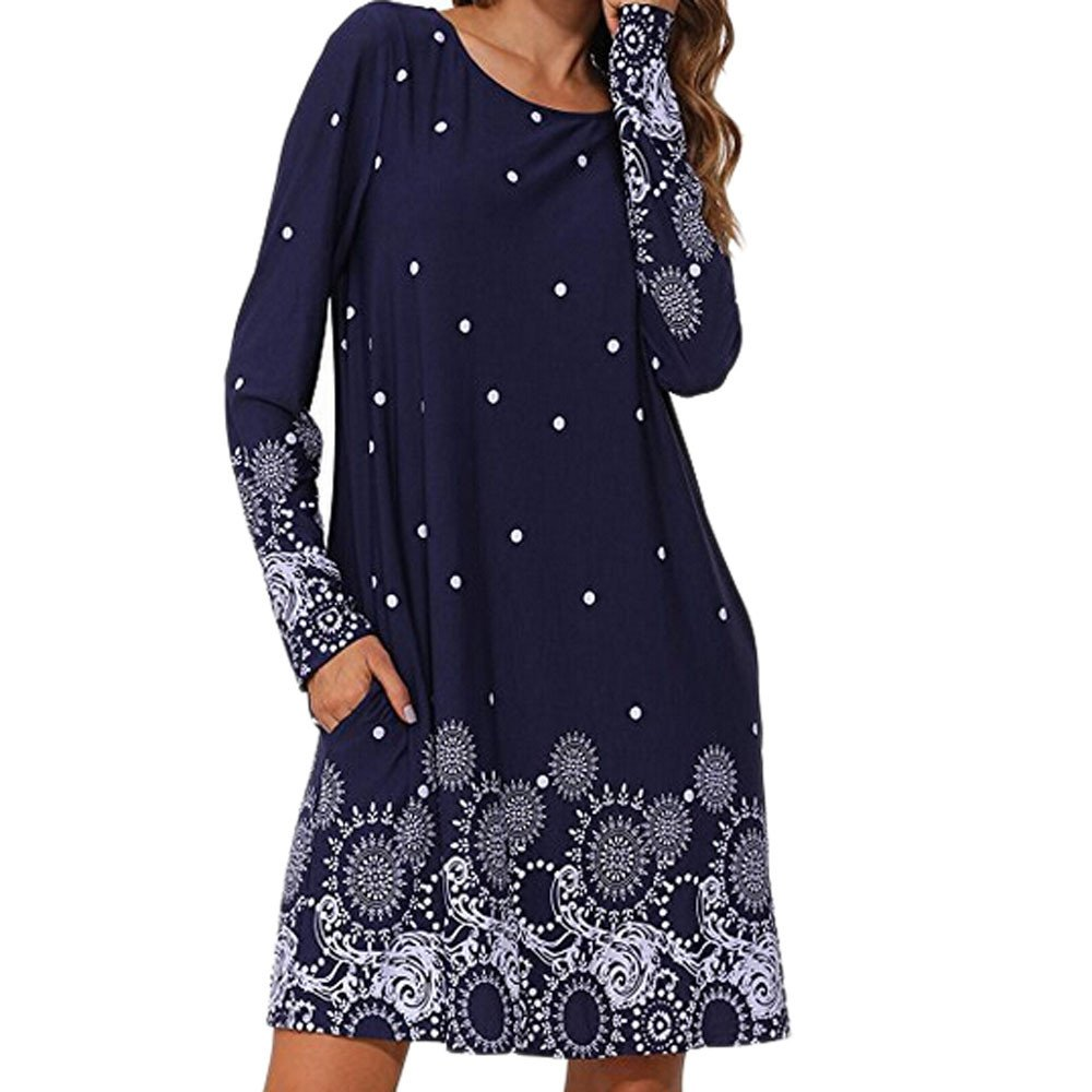 Auifor Women Dresses Casual Fashion Ladies Long Sleeve O-Neck Print Autumn A-Line Dress Daily Beach Dress