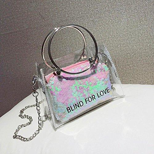 sac Dame mode fourre Main Sacs Jelly tout à à transparent Femme Sac portatifs main bandoulière Rose sacs Cabas Laser Sac Bag JIANGfu Femme 4ZqHwnCn7