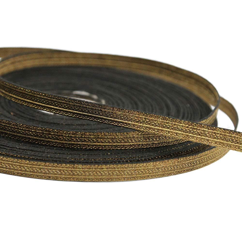 27 Yard Roll of NORTH 5/16'' Wide Double Stripe Military Bullion Braid Trim, Antique Brass by Bias Bespoke