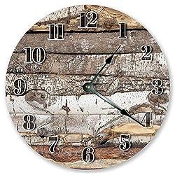Sugar Vine Art 10.5 Rustic Log Cabin Wood Wall Clock - Large 10.5 Wall Clock - Home Décor Clock