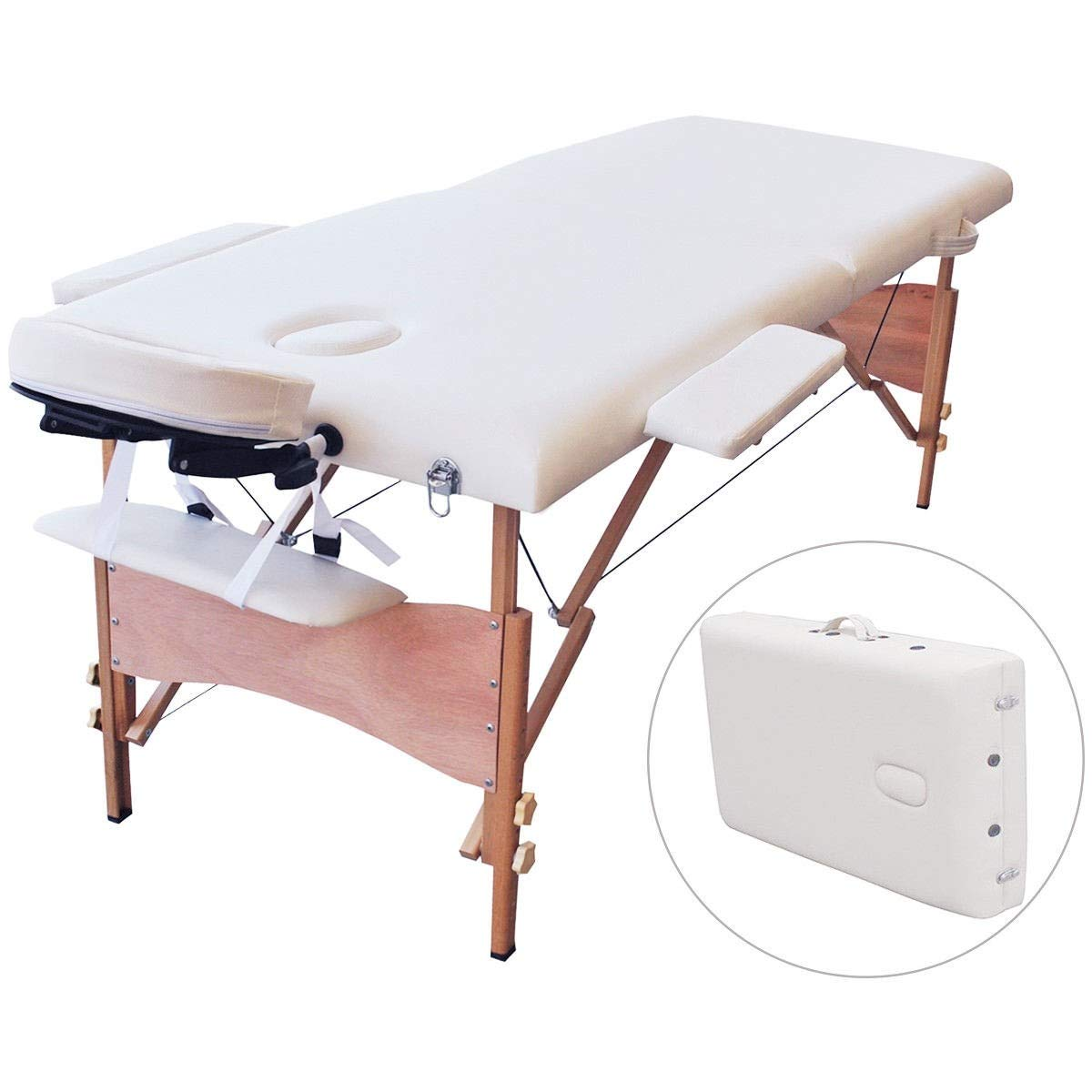 Portable Massage Table, BestComfort Height Adjustable Massage Table 2 Folding Massage Bed Spa Bed Facial Cradle Salon Bed With Carry Case