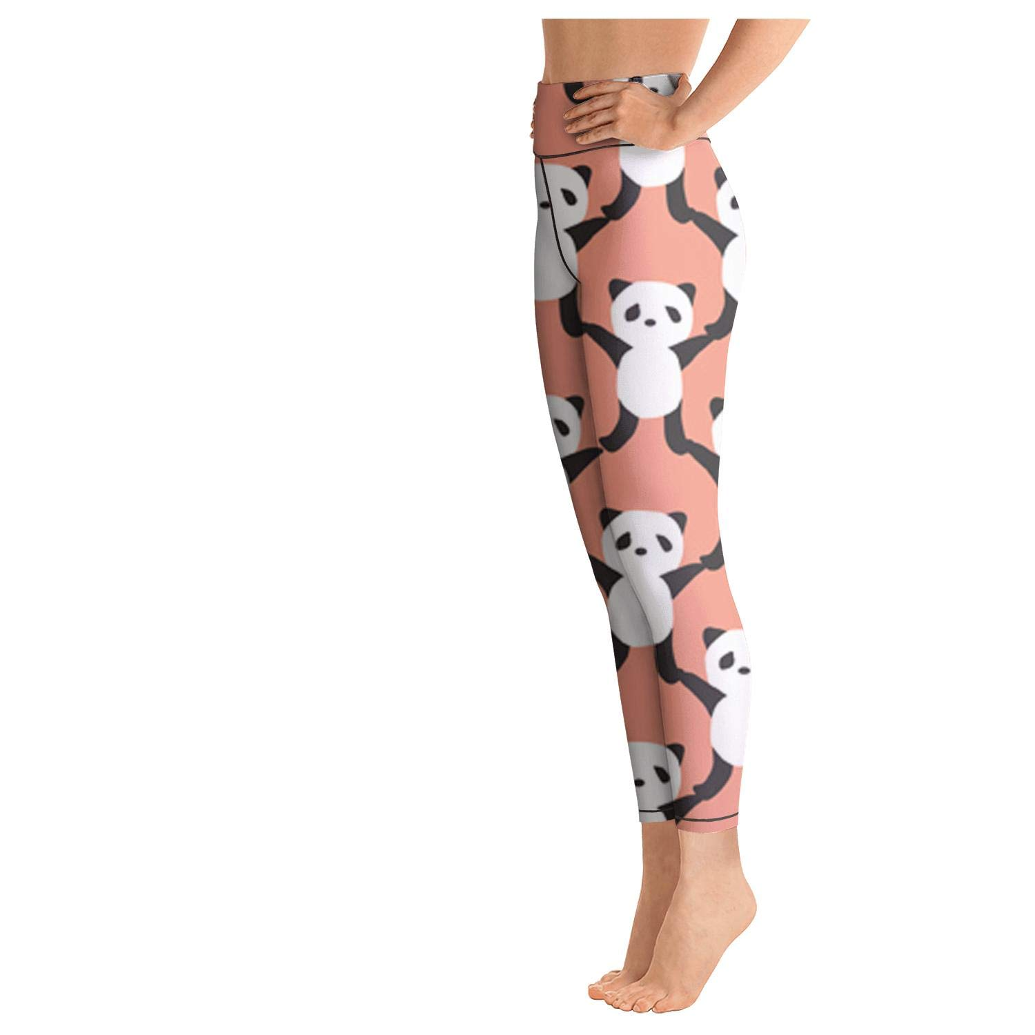 Panda Hand by Hand Workout Running Leggings for Women Tummy Control Sports Yoga Pants with Pockets
