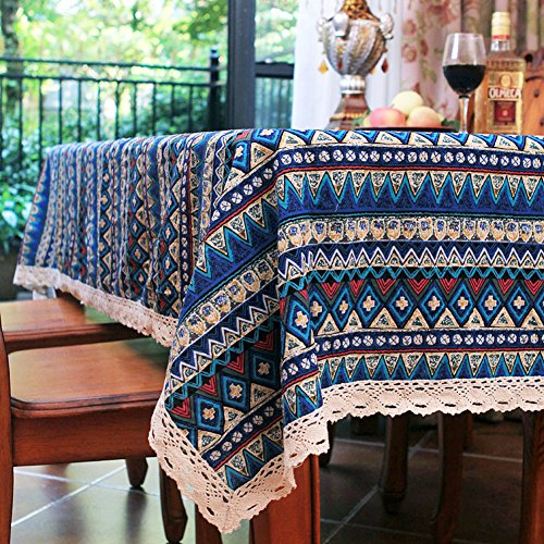 Elome Vintage Square Cotton Linen Lace Bohemian Style Geometric Design Tablecloth, Washable Tablecloth Dinner Picnic Table Cloth Home Decorative Cover Assorted Size (36 Inch x 55 Inch)