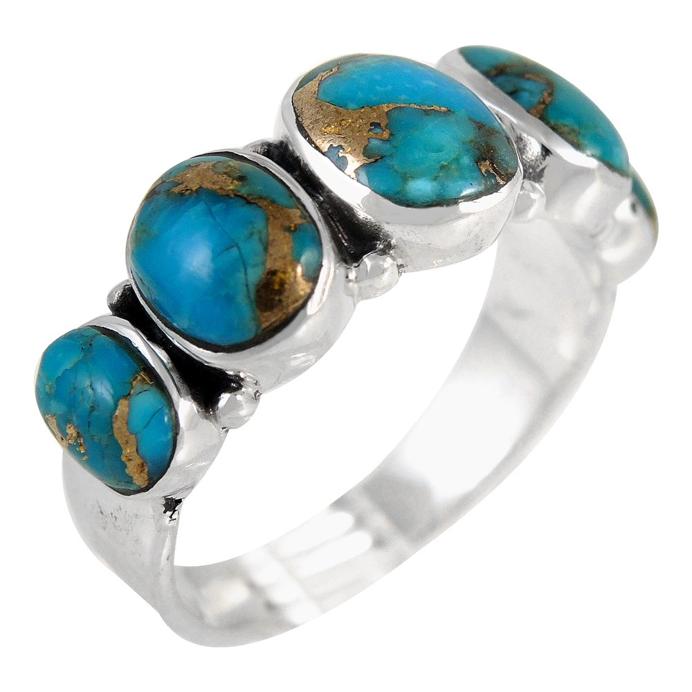 Turquoise Ring Sterling Silver 925 & Genuine Turquoise Ring (SELECT color) (Teal/Matrix, 8)