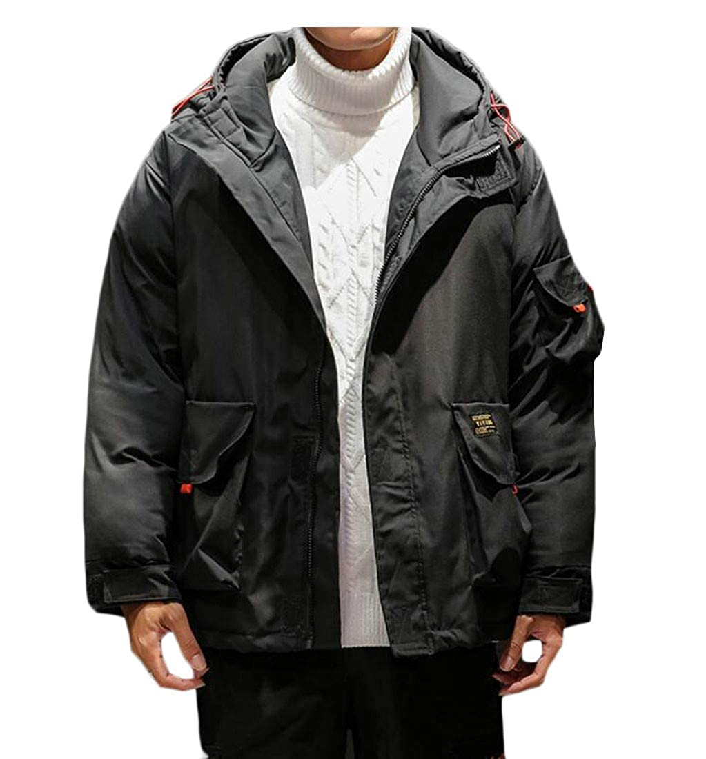 Pandapang Mens Big and Tall Hipster Hooded Cotton-Padded Overcoat Parkas Coats