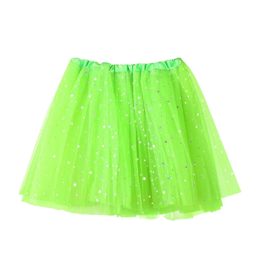 NUWFOR Women's Layered Stars Sequins Tutu Skirt Princess Ballet Dance Dress?Green?One Size?