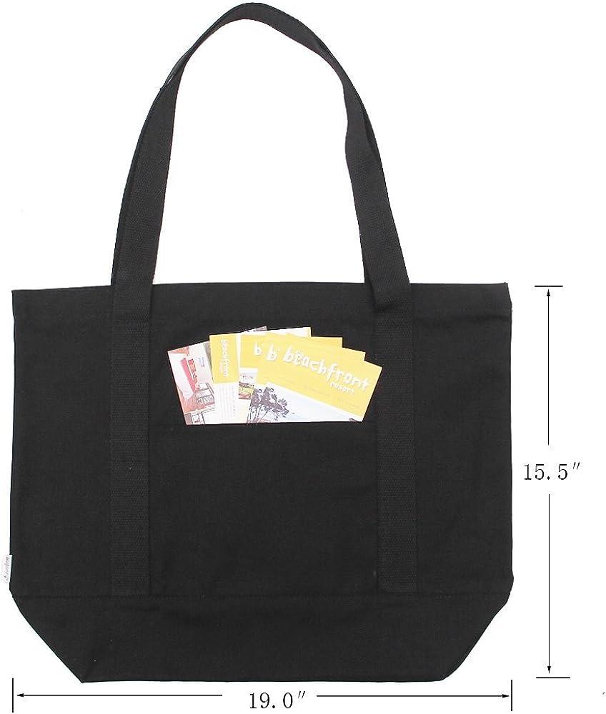 2/unidades Augbunny bolsos de hombro para playa o para la compra con bolsillo exterior Bolsas de lona resistentes 100/% algod/ón con cremallera