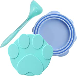 Plaifey Pet Food Silicone Can Lids Leakproof Fit Multiple Sizes Can Covers for Dog and Cat Canned Food (Green+Blue)