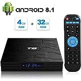 Android TV Box, T9 Android 8.1 4GB RAM/32GB ROM RK3328 Quad-Core Media Box Soporte 2.4GHz WiFi 64 bits H.265 Bluetooth 4.0 DLNA UHD 4K Mini TV Box