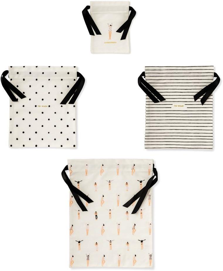 Kate Spade New York Travel Organizer Bag Set of 4, Assorted Sizes, Getting Dressed (black/white)