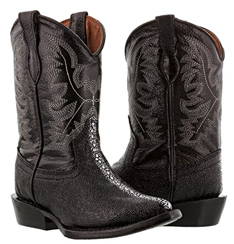 Veretta Boots - Kid's Toddler Black Stingray Print Leather Cowboy Boots J Toe 1 Youth