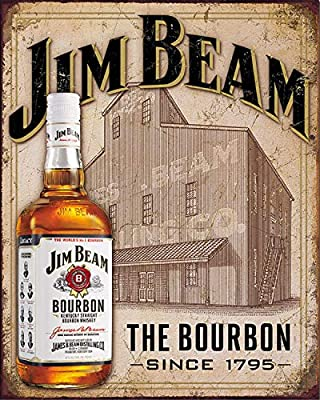 """Jim Bean Bourbon Vintage Sign- Wall Art- 8 x 10""""- Distressed Metal Sign Replica Print-Ready to Frame. Must Have For Kentucky Bourbon Whiskey Fans. Perfect Retro Addition To Man Cave-Dorm-Bar-Garage."""