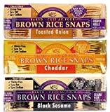 Edward & Sons Gluten Free Baked Brown Rice Snaps 3 Flavor Variety Bundle: (1) Edward & Sons Black Sesame Brown Rice Snaps, (1) Edward & Sons Cheddar Brown Rice Snaps, and (1) Edward & Sons Toasted Onion Brown Rice Snaps, 3.5 Oz. Ea. (3 Packs Total)