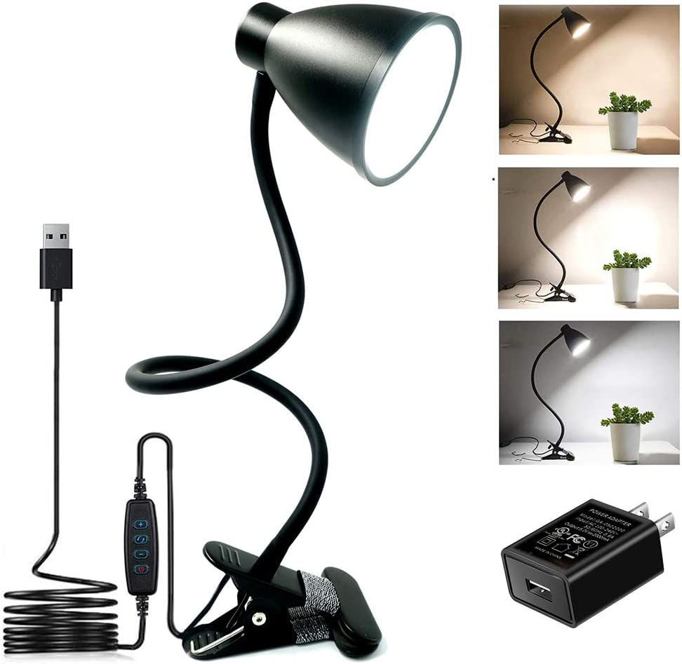 BOHON Clamp Lamp Reading Light 3000-6500K Adjustable Color Temperature 10 Brightness Dimmer 10W 38 LED Beads, Desk Lamp 360° Flexible Gooseneck Clip on Light for Bed, AC Adapter and USB Cord Include