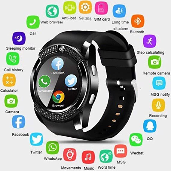 Amazon.com: V8 Bluetooth Smart Watch 0.3MP Camera SIM Slot ...