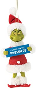 Department 56 Possible Dreams Dr. Seuss How The Grinch Stole Christmas Here for The Presents Hanging Ornament, 5 Inch, Multicolor