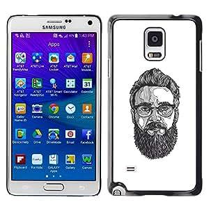 Shell-Star Arte & diseño plástico duro Fundas Cover Cubre Hard Case Cover para Samsung Galaxy Note 4 IV / SM-N910F / SM-N910K / SM-N910C / SM-N910W8 / SM-N910U / SM-N910G ( Glasses Art Painting Beard Hipster )