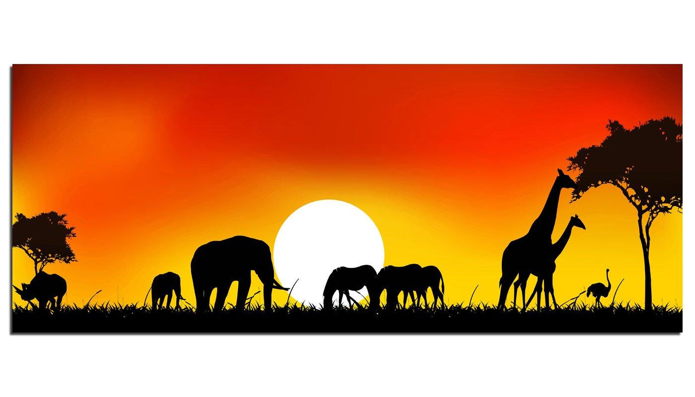 Dsign24 EG312500263 HD Echt-Glas Bild, Afrika Tiere, Wandbild Druck auf Glas, XXL, 125 x 50 cm