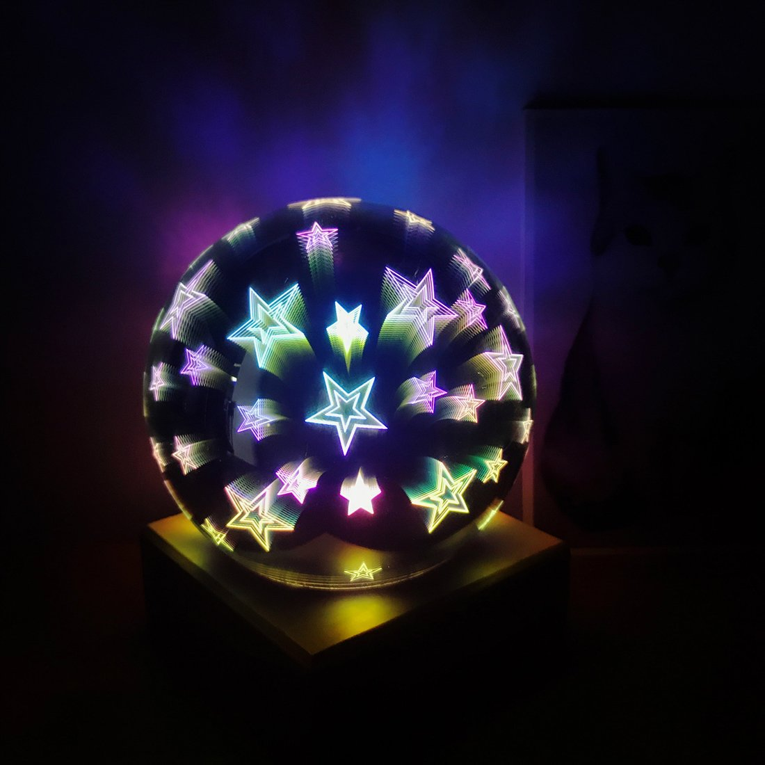 Tmore  3D Fireworks Night Light, Glass Lamp Magical Crystal Ball USB Power Starry Decorative Lamp Colorful Sphere Table Light (Stars)