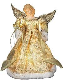 kurt adler ul 10 light 12 inch gold dress angel treetop - Angel Christmas Tree Topper