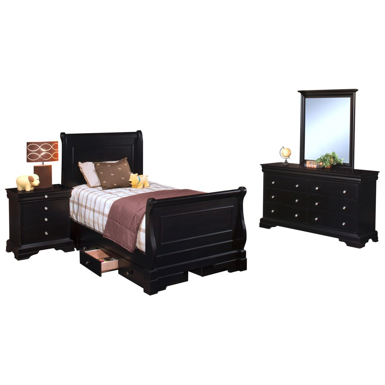 Black Hills Traditional Youth Sleigh 4 Piece Twin Bed, Nightstand, Dresser & Mirror in Black