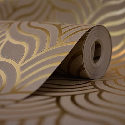 Muriva Precious Silks Art Deco Wallpaper Beige, Gold (601534)