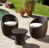 Modern Outdoor Patio 3 Piece Chat Set in Brown Resin Wicker with Tan Seat Cushions Includes ModHaus Living (TM) Pen