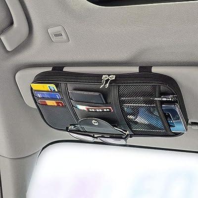 Da by Leather Car Sun Visor Organizer, Auto Interior Accessories Pocket Organizer - Car Truck Storage Pouch Holder, with Multi-Pocket Net Zipper(Black): Automotive