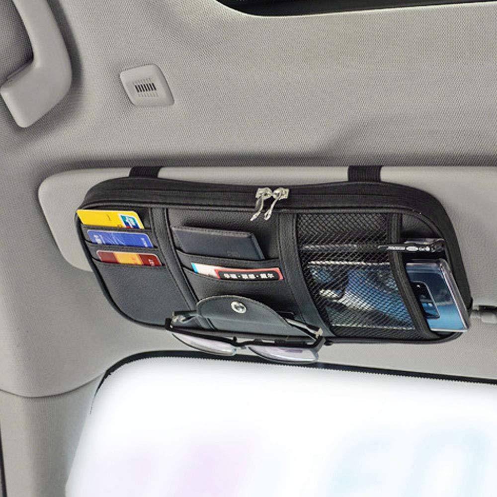 Da by Leather Car Sun Visor Organizer, Auto Interior Accessories Pocket Organizer - Car Truck Storage Pouch Holder, with Multi-Pocket Net Zipper(Black) by Da by