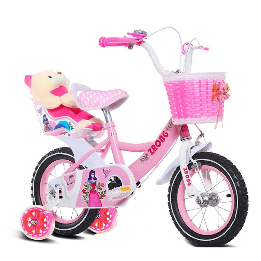 子供用自転車4-7歳の女の子用自転車16インチ乳母車ハイカーボンスチールフレーム自転車、ピンク/パープル/ブルー (Color : Pink) B07CYJ9BF1