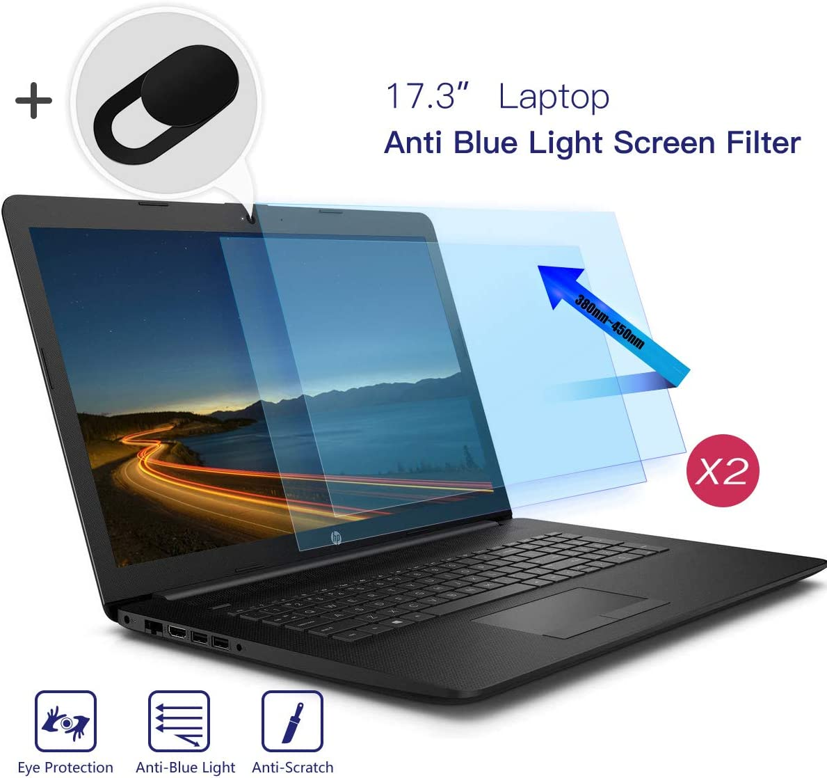 "iKammo 2PC 17.3 Inch Anti Blue Light Laptop Screen Filter, Anti Glare Screen Protector Eye Protection Blue Light Blocking Screen Protector for 17.3"" Display 16:9 with Webcam Cover"