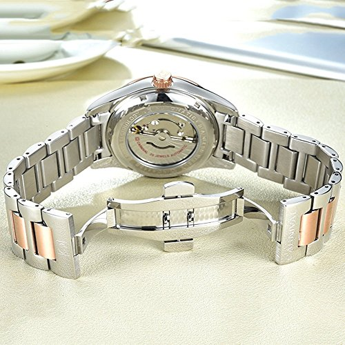 Couple Stainless Steel Automatic Mechanical Watch Sapphire Glass Watches for Her or His Gift Set 2 (Rose Gold/White) by MASTOP (Image #6)