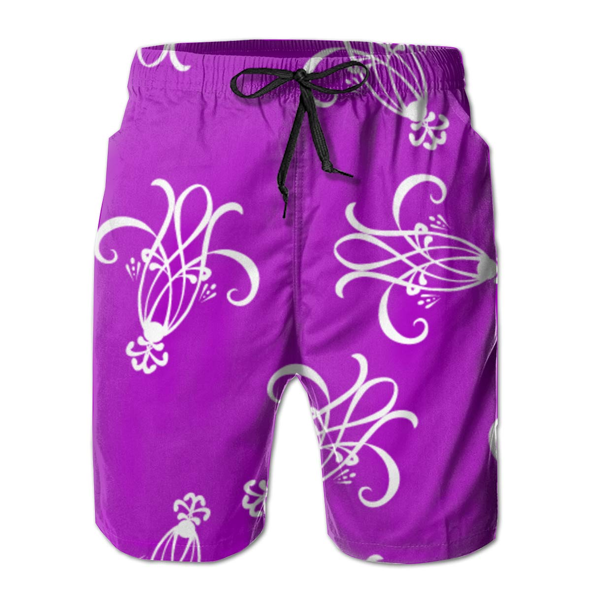 Purple Mens Swim Trunks Summer 3D Print Graphic Casual Athletic Swimming Short