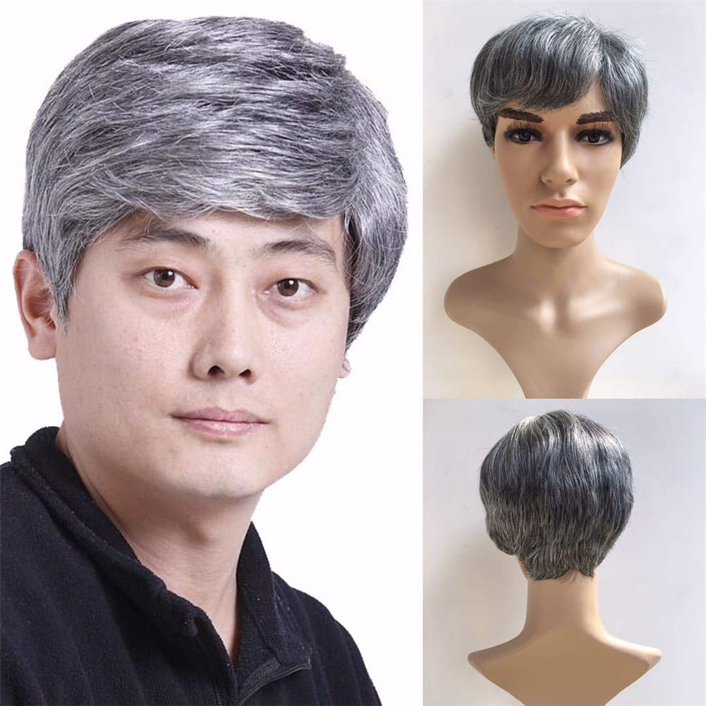 Amazon.com   VIWIGS Men s Short Straight Wigs for Man with Bangs Silver  Grey Cosplay Costume Wig Full Head Synthetic Wigs with Wig Cap 8