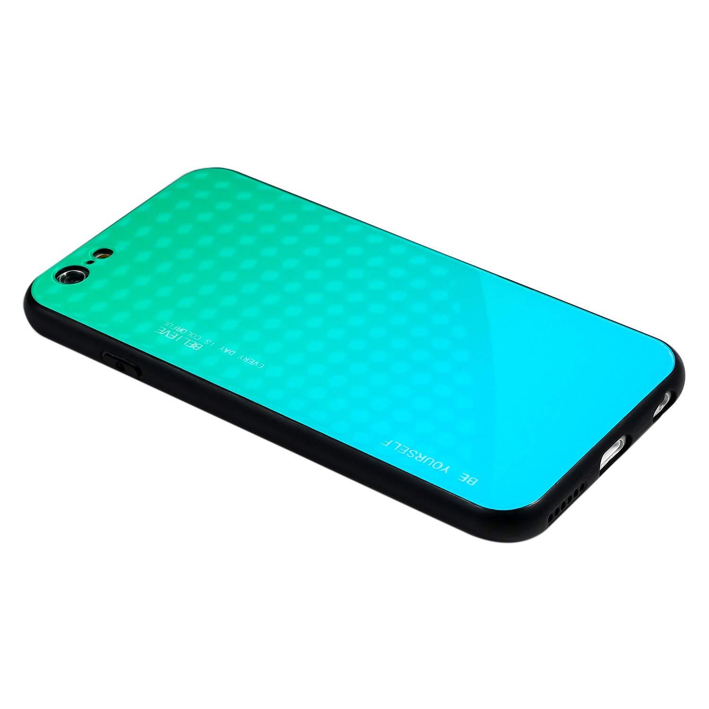 Ukayfe Compatibile con iPhone 6//iPhone 6S Custodia,Color Gradation Tempered Glass Cover Ultra Sottile Rigida Bumper Antiurto AntiGraffio Protettiva Case per iPhone 6//iPhone 6S-Blu Nero