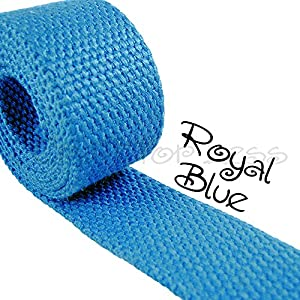 """1 Yard Cotton Webbing 1 1/4"""" Medium Heavy Weight Royal Blue"""