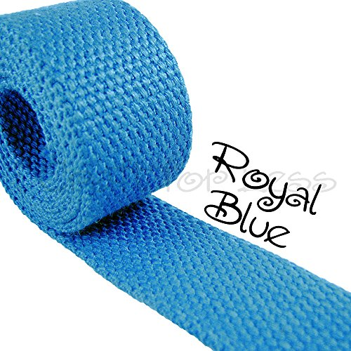 "1 Yard Cotton Webbing 1 1/4"" Medium Heavy Weight Royal Blue"