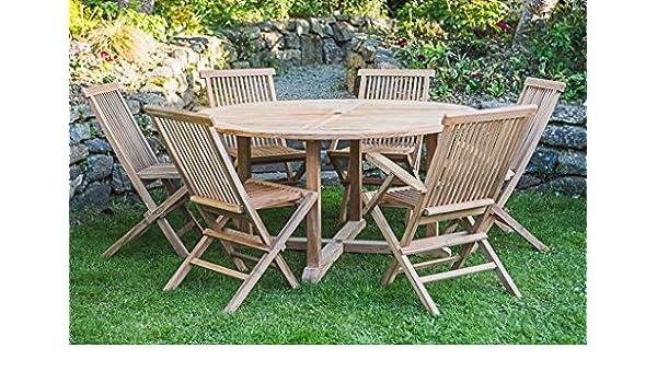 Teca maciza 1,5 m Circular velador y silla plegable coralgraph conjunto muebles de jardín: Amazon.es: Hogar